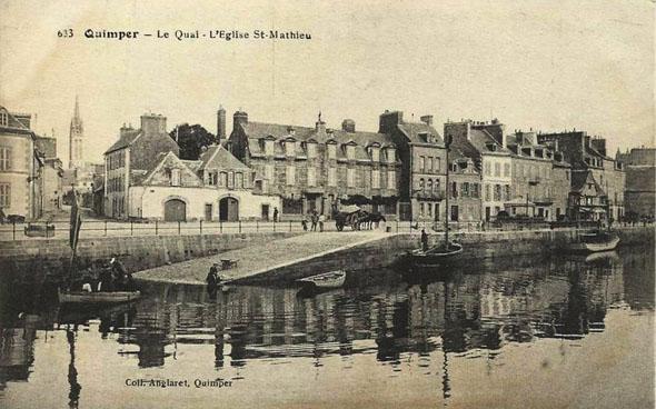 Quai et église Saint-Mathieu à Quimper